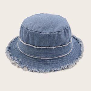 Raw edge denim hat